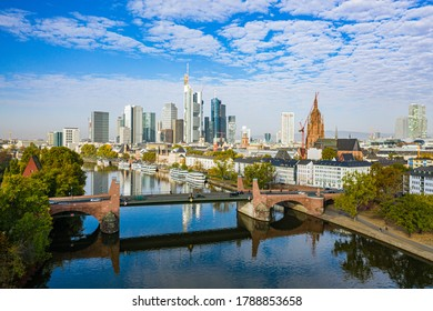 Skyscraper skyline of of the business and financial center Frankfurt am Main in Germany