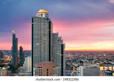 Skyscraper sunset aerial view