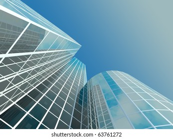Skyscraper with tinted windows on the background of a cloudless sky. Some windows are transparent