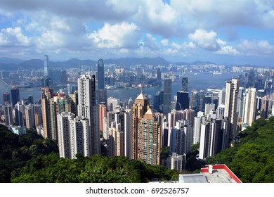 Skyscraper view from the Victoria Peak tower on Hong kong.