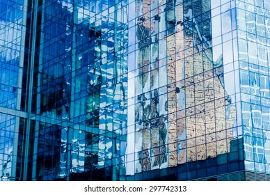 """The skyscraper wall of glass with reflection. New majestic buildings modern business center """"Moscow-city"""". Russia, Moscow - Shutterstock ID 297742313"""