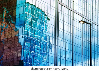 """The skyscraper wall of glass with reflection. New majestic buildings modern business center """"Moscow-city"""". Russia, Moscow"""