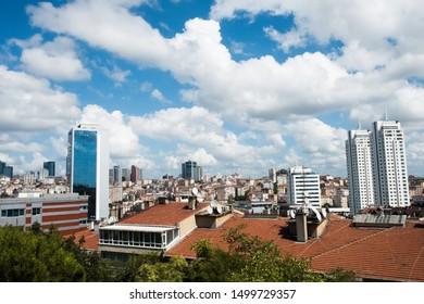 Skyscrapers across small buildings in Nişantaşı district, September 9, 2019 in Istanbul, Turkey.