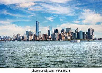 Skyscrapers around Battery Park in Lower Manhattan, New York City.