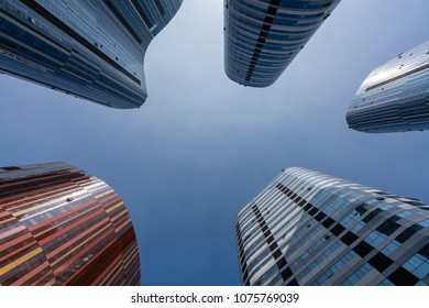 Skyscrapers in Beijing against clear blue sky