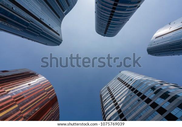 Skyscrapers in Beijing against clear blue sky