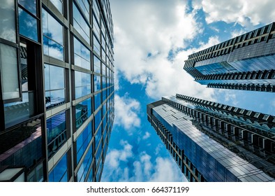 Skyscrapers in Bellevue, Washington with Blue Sky and Clouds