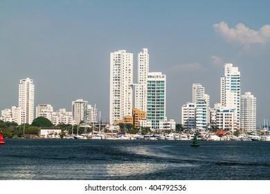 Skyscrapers in the Boca Grande neighborhood of Cartagena, Colombia
