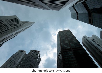 skyscrapers from bottom view at Singapore