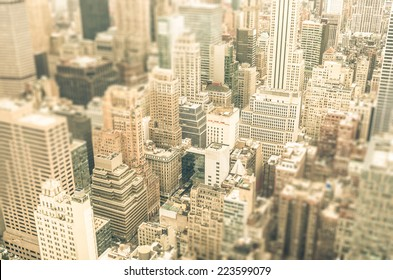 Skyscrapers in the business district of New York City -  Aerial view of modern buildings of the skyline in downtown Manhattan - Tilted shift defocusing