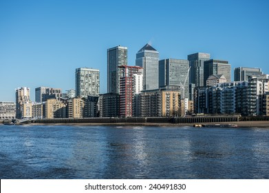 Skyscrapers of Canary Wharf seen from the river Thames in London