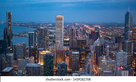The skyscrapers of Chicago - aerial view in the evening - CHICAGO, ILLINOIS - JUNE 12, 2019