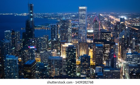 Skyscrapers of Chicago by night - aerial view - travel photography