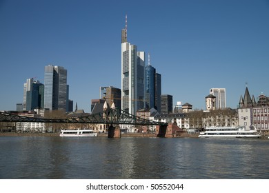 Skyscrapers in the city and blue sky. Frankfurt. Germany