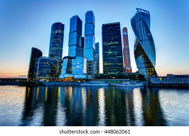 Skyscrapers city international business center, Moscow, Russia at dusk