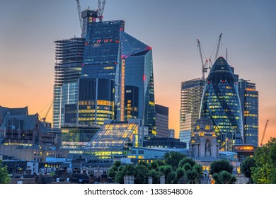 The skyscrapers of the City of London after sunset