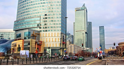 Skyscrapers in the city. Luxury residential project in Warsaw. Development of construction industry in Europe.Countries of European Union Warsaw, Poland - February14, 2016