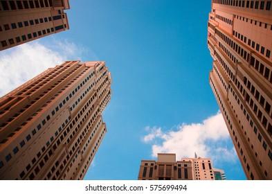 Skyscrapers close to the Marina beach, Jumeirah Lakes Towers, Dubai, UAE.