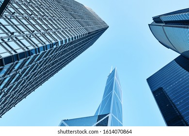 Skyscrapers in Commercial Area, Hongkong, China. Modern business buildings with blue sky, shot in hong kong, asia
