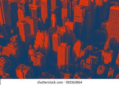 Skyscrapers, concept photo, Duotone Photo Effect