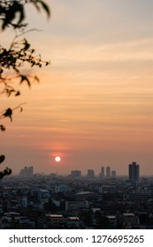 The skyscrapers in downtown Bangkok cityscapes, the capital of Thailand in southeast Asia, with sunset in winter and foliage at foreground in vertical view.