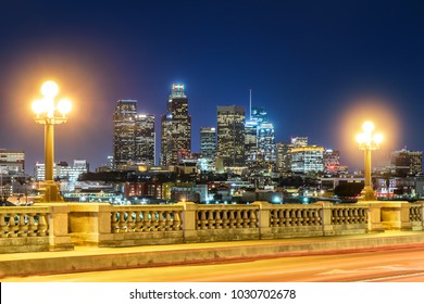 Skyscrapers in downtown Los Angeles California at night. View from bridge