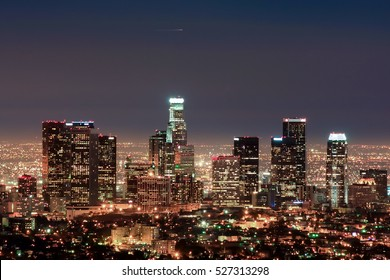 skyscrapers of Downtown Los Angeles at night from Griffith park