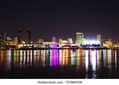 Skyscrapers in downtown San Diego seen from Coronado island, California