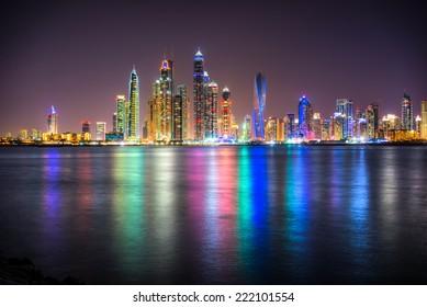 Skyscrapers in Dubai Marina. UAE