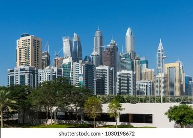 Skyscrapers in Dubai Marina. Dubai, UAE - January, 2018.