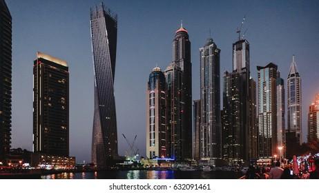 Skyscrapers in Dubai at night