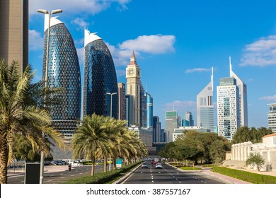 Skyscrapers in Dubai in a summer day
