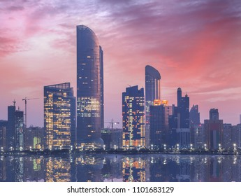 Skyscrapers in the evening, Abu Dhabi, United Arab Emirates