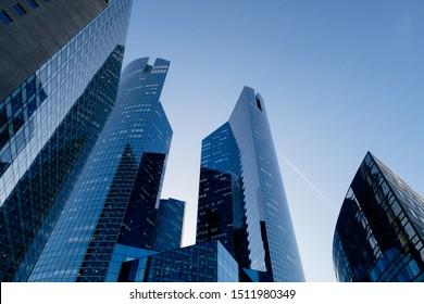 skyscrapers in financial district of La Defense Paris France.