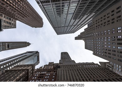 Skyscrapers at the Financial District of New York City.
