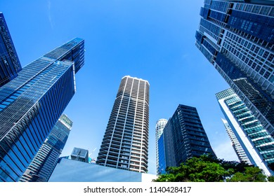 Skyscrapers in financial district of Singapore, office buildings of modern megalopolis
