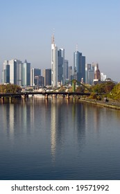 skyscrapers of Frankfurt financial district, Main river in front