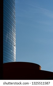 Skyscrapers geometries and reflections in Milan Porta Nuova business district