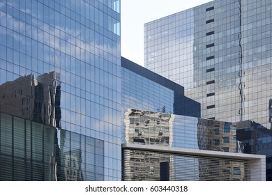 Skyscrapers with glass facade. Modern buildings in Sao Paulo, avenue Paulista, Brazil, business district. Concepts of economics, financial, future.