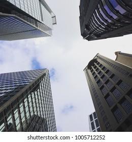 Skyscrapers in Hong Kong, viewed from below.