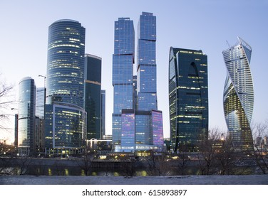Skyscrapers International Business Center (City) at night, Moscow, Russia