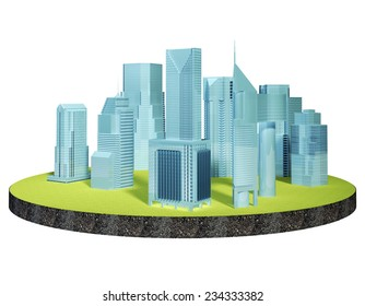 skyscrapers isolated on an island