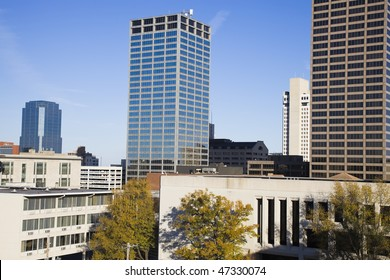 Skyscrapers in Little Rock, Arkansas. Morning time.