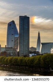 Skyscrapers in London at sunrise