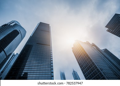 Skyscrapers from a low angle view in Shanghai, China