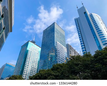 Skyscrapers from a low angle view at Wusi  Financial District in Fuzhou,Fujian,China