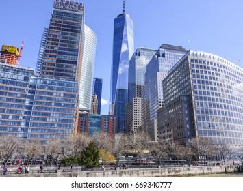 The skyscrapers of Manhattan financial district - MANHATTAN / NEW YORK - APRIL 2 , 2017