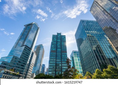 skyscrapers with modern glass facade in downtown vancouver
