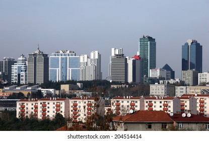 Skyscrapers and modern office buildings at Maslak District in Istanbul, Turkey.