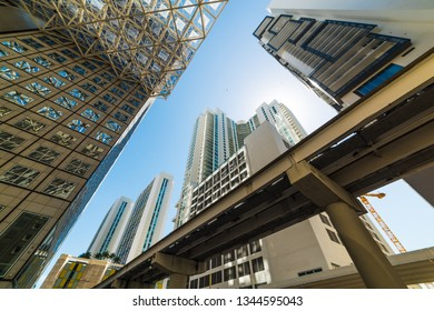 Skyscrapers and monorail in downtown Miami seen from below. Southern Florida, USA